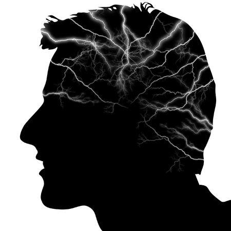 descarga electrica: Ilustraci�n de una silueta de una cabeza con rel�mpagos en ella