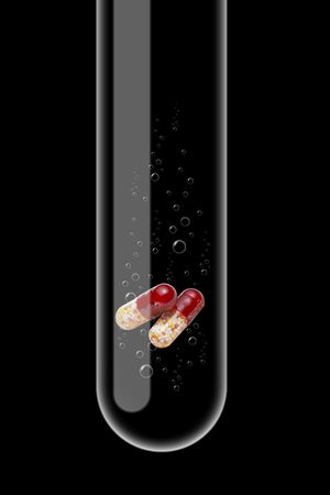 Illustration of a glass test tube with tablets inside it illustration