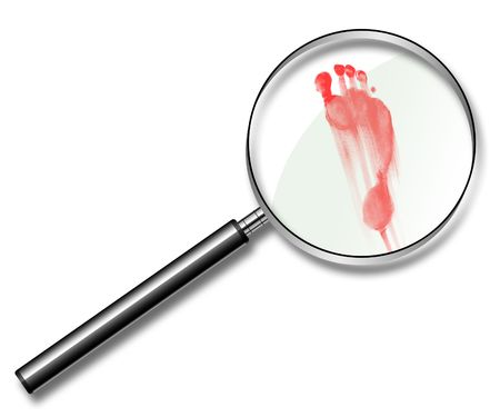 traces: Illustration of red traces of a foot under a magnifier Stock Photo
