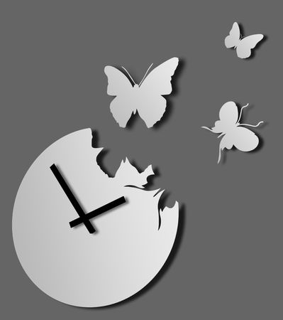 Illustration of grey clock with flying away butterflies