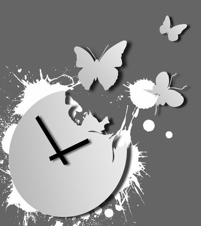 Illustration of grey clock with flying away butterflies illustration