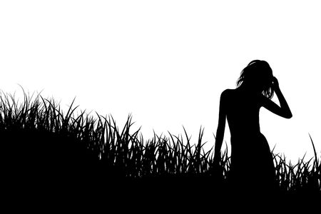 Illustration of a dense grass with a silhouette of the person in it illustration