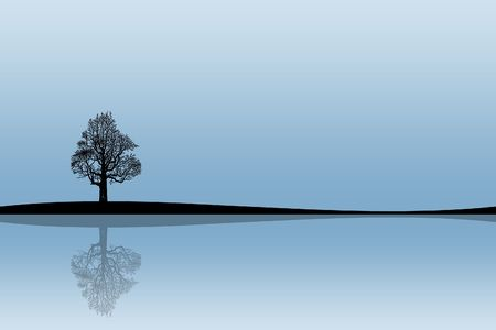 water reflection: Illustration of a silhouette of a tree with reflexion on the bank of lake