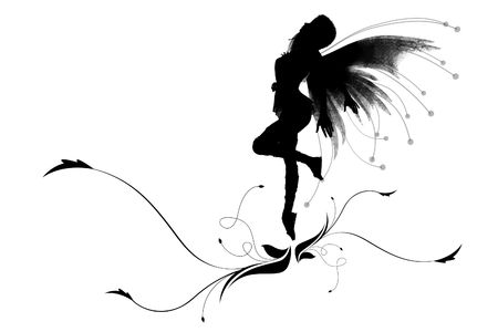 wing figure: Illustration of a silhouette dancing elf on a beautiful flower Stock Photo