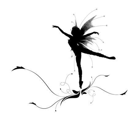 black people dancing: Illustration of a silhouette dancing elf on a beautiful flower Stock Photo