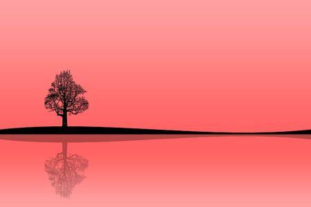 reflexion: Ilustraci�n de una silueta de un �rbol con la reflexi�n sobre la orilla del lago