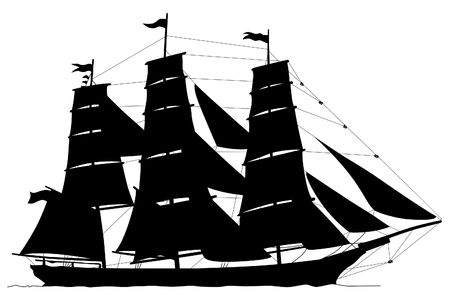 Illustration of the ship with the big sails on a white background illustration