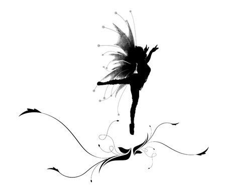fairy silhouette: Illustration of a silhouette dancing elf on a beautiful flower Stock Photo
