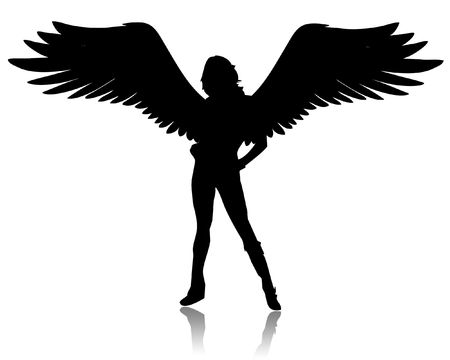 Illustration of a black angel on a white background