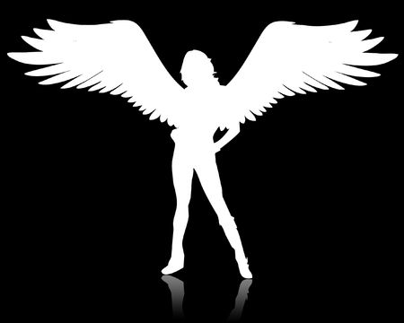 hair feathers: Illustration of a white angel on a black background