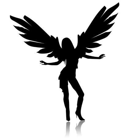 angel hair: Ilustraci�n de un �ngel negro sobre un fondo blanco