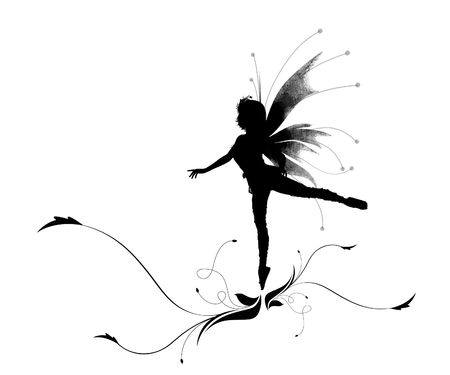 figuras abstractas: Ilustraci�n de una silueta bailando elfo en una flor hermosa Foto de archivo