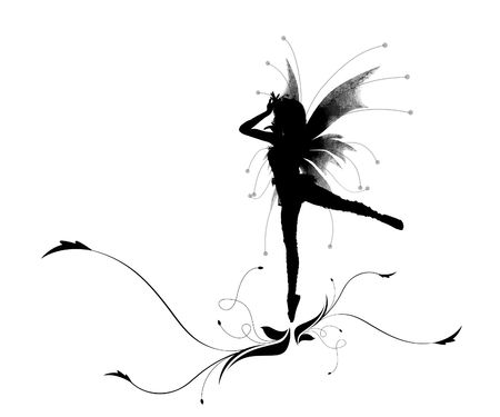 little girl dancing: Illustration of a silhouette dancing elf on a beautiful flower Stock Photo
