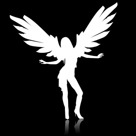 hell: Illustration of a white angel on a black background