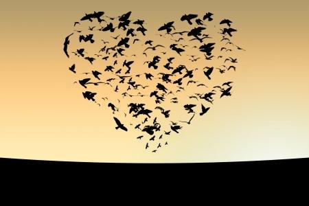Afbeelding van de vlucht van vogels in de lucht in de vorm van hart