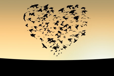 Illustration of flight of birds in the sky in the form of heart illustration