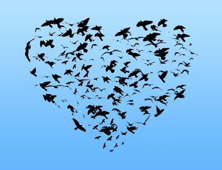 Illustration of flight of birds in the sky in the form of heart