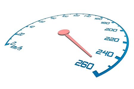 maximum: Speedometer with an arrow which goes on a maximum of speed