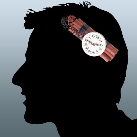Illustration of a dangerous dynamite in a head at the man Stock Illustration - 5999477