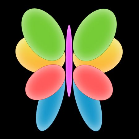 Illustration of the colourful butterfly on a black background Stock Illustration - 6026606