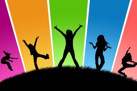 jugendliche gruppe: Black Silhouetten, Jugend auf einen anderen Hintergrund Lizenzfreie Bilder