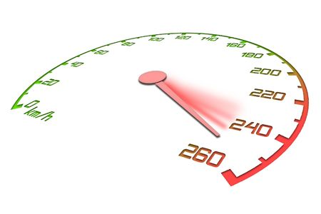 goes: Speedometer with an arrow which goes on a maximum of speed