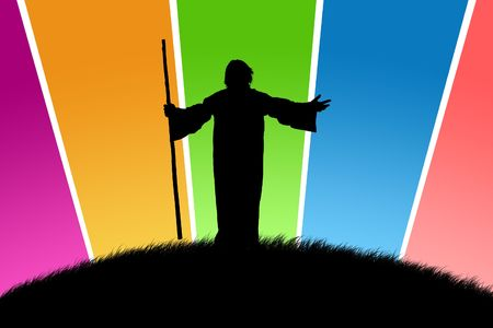 Black silhouette of the shepherd on a glade with multi-coloured beams Standard-Bild