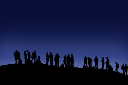 Many people on one place meet a dawn Stock Photo