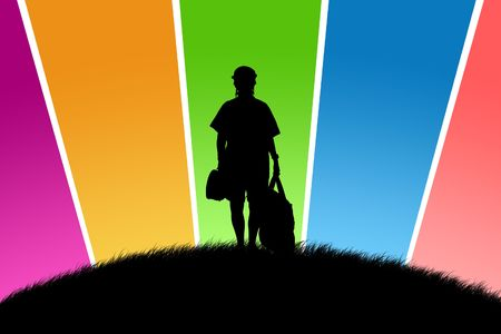 glade: Black silhouette of the tourist on a glade with multi-coloured beams Stock Photo