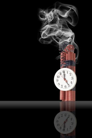 Illustration of dynamite with the timer on a black background illustration