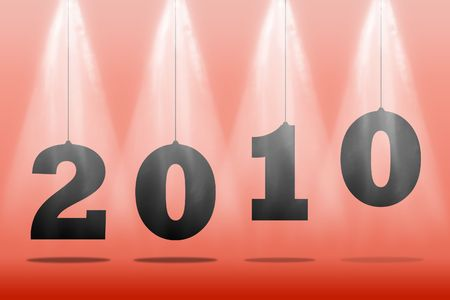 Illustration of numbers of new 2010 on a red background Stock Illustration - 6103375