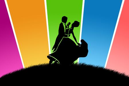 Black silhouette of the pair on a glade with multi-coloured beams photo