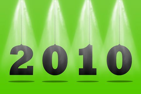 Illustration of numbers of new 2010 on a green background illustration