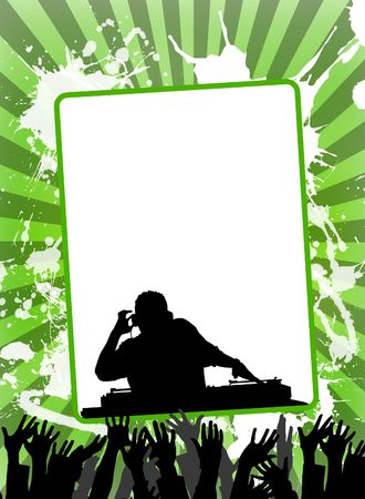 deejay: Illustration of empty advertising sheet, on a colourful background Stock Photo