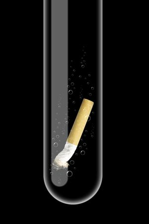 dangerously: Illustration of a glass test tube with cigarette inside it Stock Photo