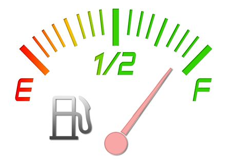 Illustration of the gauge of fuel with an arrow on a full tank