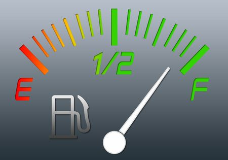 Illustration of the gauge of fuel with an arrow on a full tank illustration