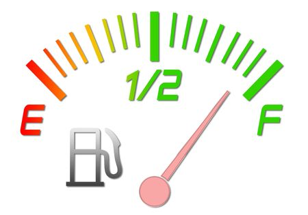 bicycle pump: Illustration of the gauge of fuel with an arrow on a full tank