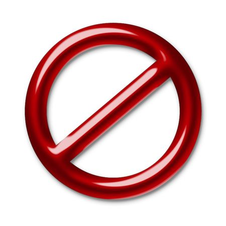 barred: Illustration of a red symbol of an interdiction which crosses Stock Photo