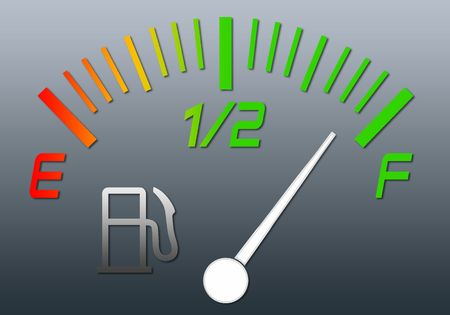 barell: Illustration of the gauge of fuel with an arrow on a full tank