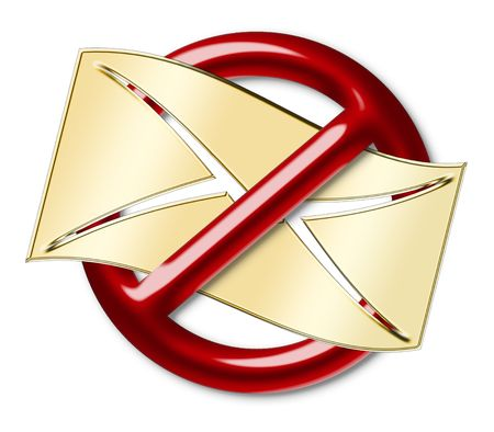 crossed out: The letter crossed out by a forbidden sign, as a spam Stock Photo