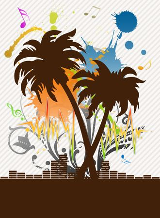 Illustration of empty advertising sheet for a disco on a beach illustration