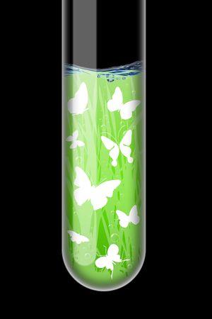 Spring illustration in an test-tube on black background Stock Illustration - 6232052