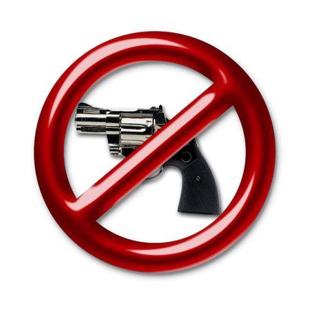 anti war: Illustration of a red symbol of an interdiction on pistol