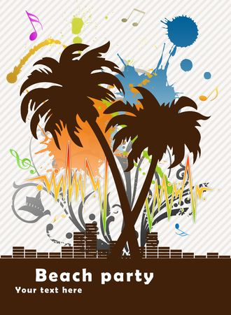 Illustration of empty advertising sheet for a disco on a beach Stock Illustration - 6240907
