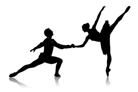 Black silhouette of dancing couple on a white background Stock Photo - 6261688