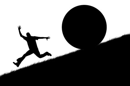 Illustration of the running person on a slope of mountain from a sphere