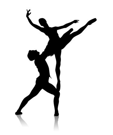 Black silhouette of dancing couple on a white background