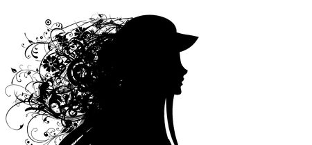 Silhouette of a head of the girl, covered with hair from leaves photo