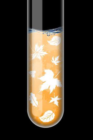 Autumn illustration in an test-tube on black background Stock Illustration - 6273171